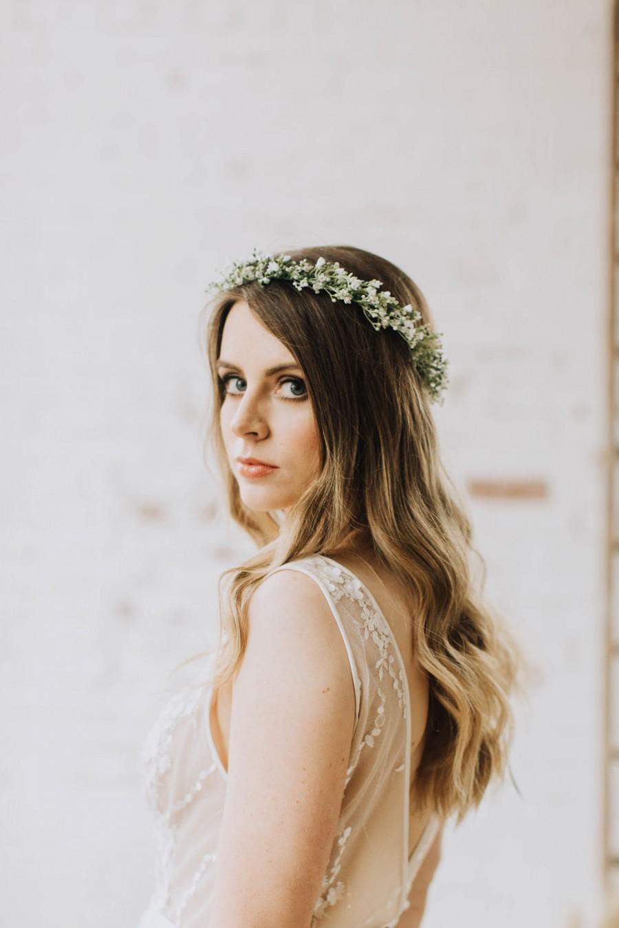 Mariage - Gyp crown, snow crown, babies breath crown, Woodland crown, ivory halo, Faerie crown, woodland hairpiece, woodland wedding, statement crown