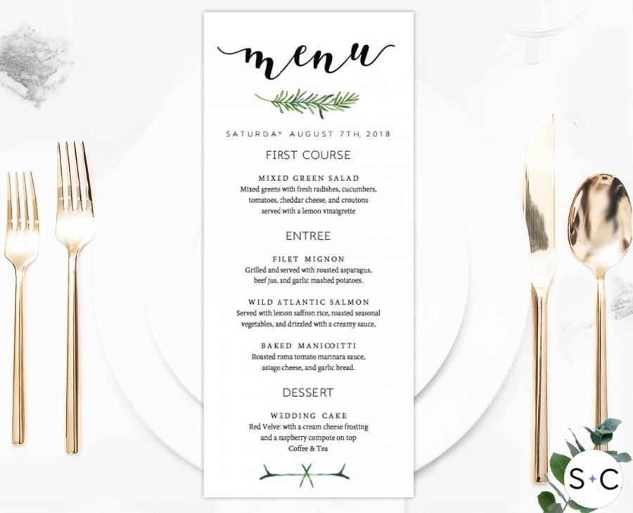 Свадьба - Greenery Wedding Menu, Botanical Wedding Menu, Wedding Menu Template, Wedding Menu Card, Printable Wedding Menu, Wedding Menu