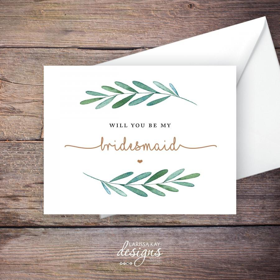 Hochzeit - Printable Green Garden Will You Be My Bridesmaid Card, Greenery, Instant Download Greeting Card, Be My Bridesmaid, Wedding Card – Waverly
