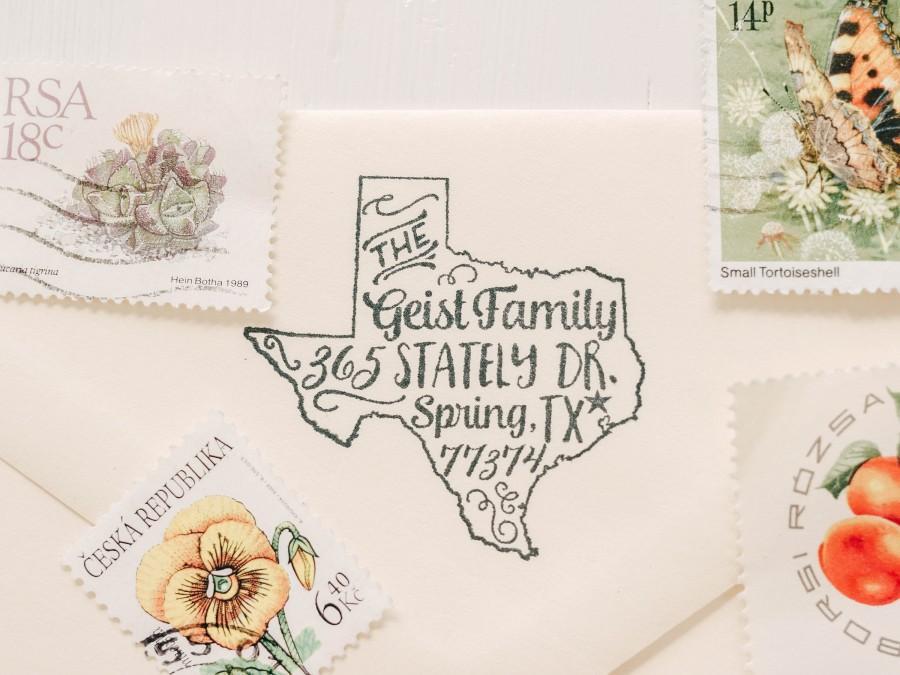 Свадьба - State Stamp State Return Address Stamp Housewarming Gift Custom Rubber Stamp Texas Stamp Personalized Gift Custom Stamp Newlywed Gift