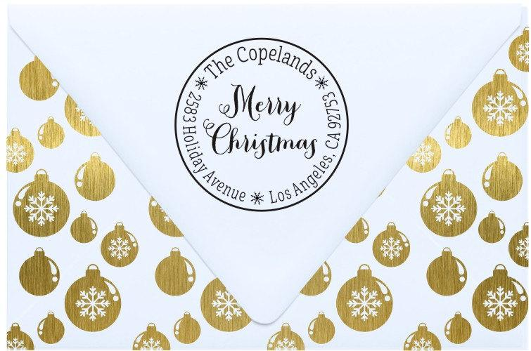 Свадьба - Merry Christmas stamp - Christmas address stamp - Holiday return address stamp gift - Great for Christmas cards - CR4
