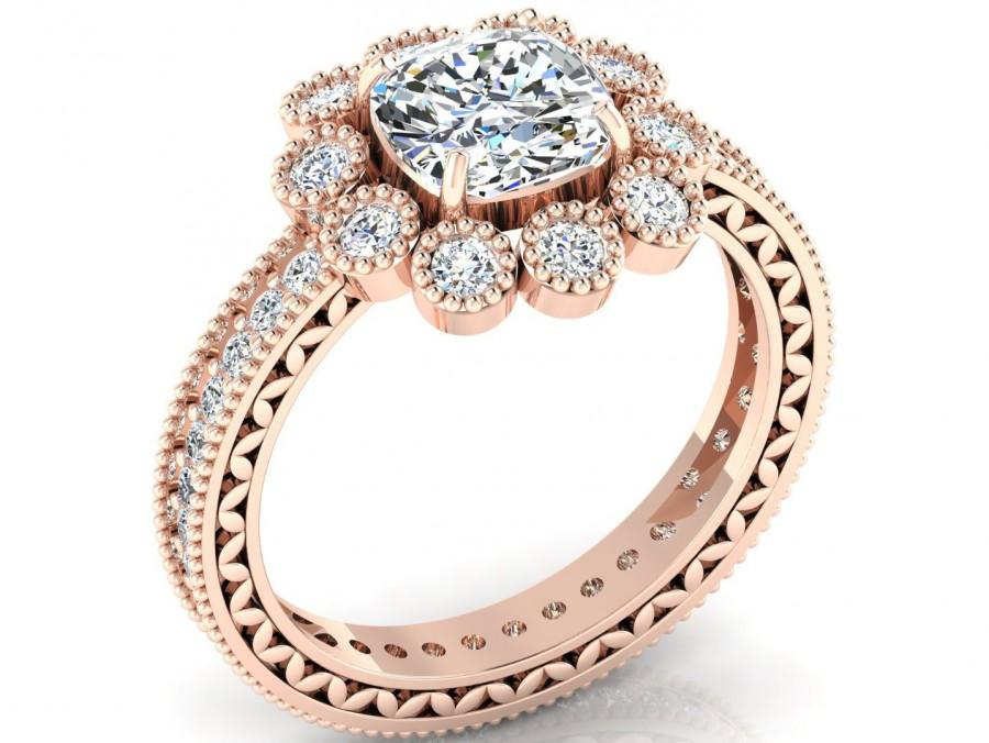 Свадьба - 14k Gold Vermeil Zircon Engagement Ring CZ Zircon Solitaire Ring Cushion Cut Halo Wedding Ring Unique Promise Ring Valentine Gifts for Her
