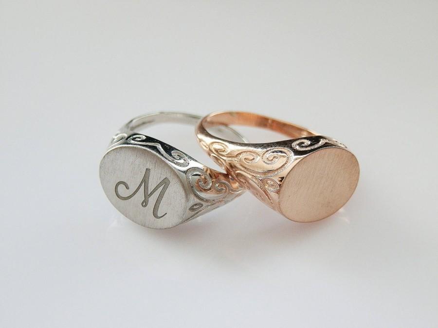 زفاف - Engravable ring - Personalized Ring - Signet Ring -  women ring - Initial ring - Monogram Initial Ring - letter Ring