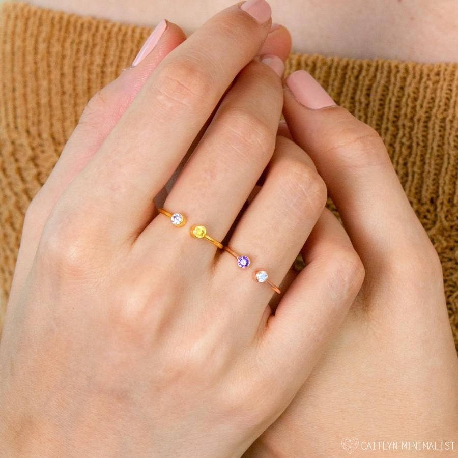 Свадьба - Custom Birthstone Ring in Gold, Rose Gold & Sterling Silver by CaitlynMinimalist • Mothers Ring • His and Her Birthstone Ring • RH05
