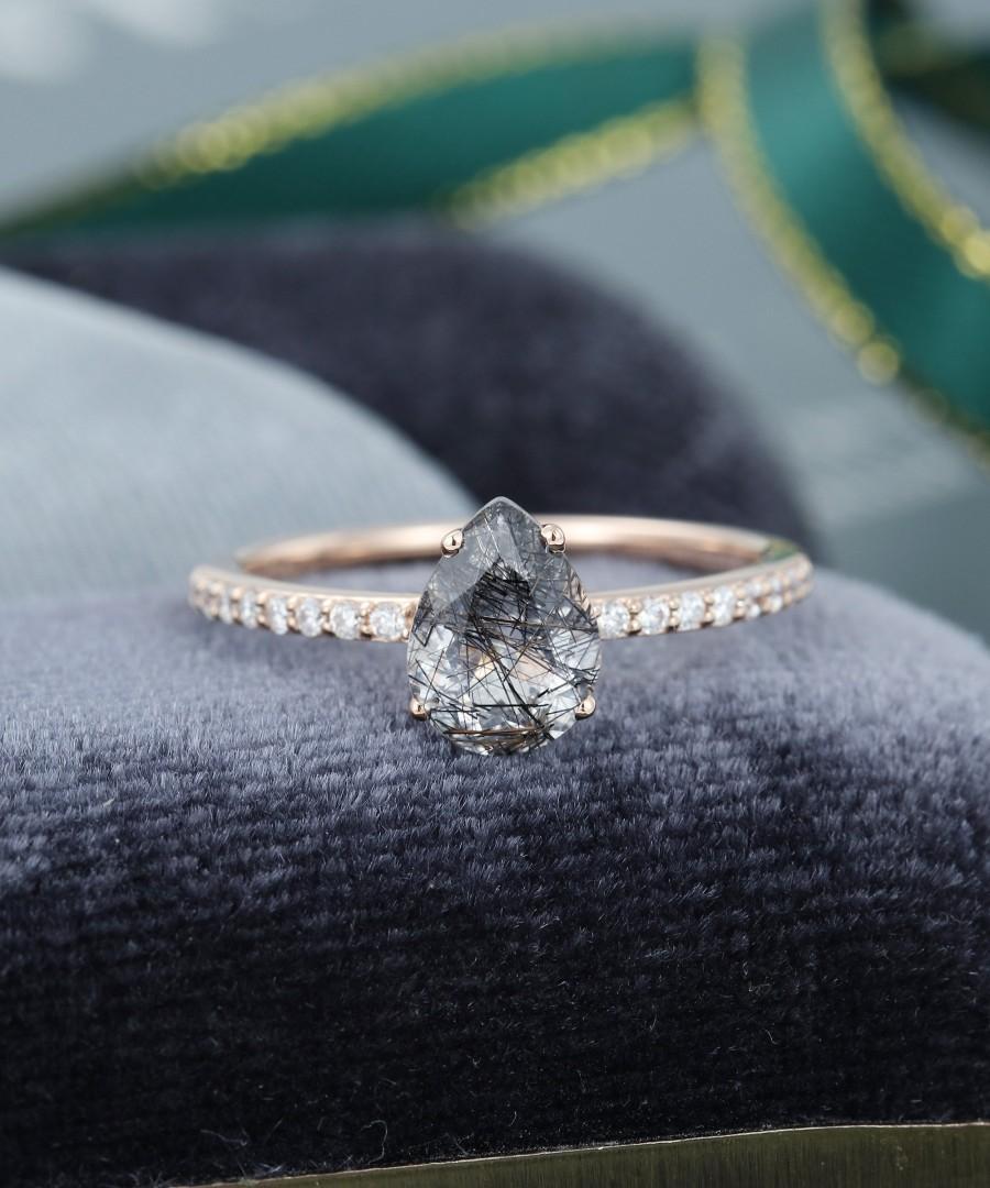 Black Quartz Rutilated Engagement Ring Vintage Rose Gold