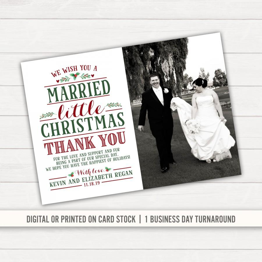 Mariage - Married Little Christmas Wedding Thank You Card Christmas Thank You Christmas Wedding Married and Bright Photo Thank You Printed Thank You