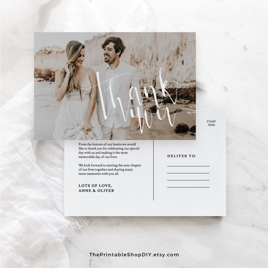 Mariage - Wedding Thank You Postcard Templett, Photo Thank You Printable, Rustic Thank You Cards,