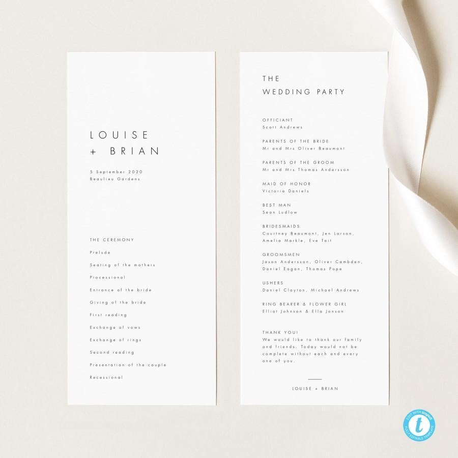 Mariage - Minimalist Wedding Program Template Modern Ceremony Program template Simple Editable Program Printable Order of Service 21