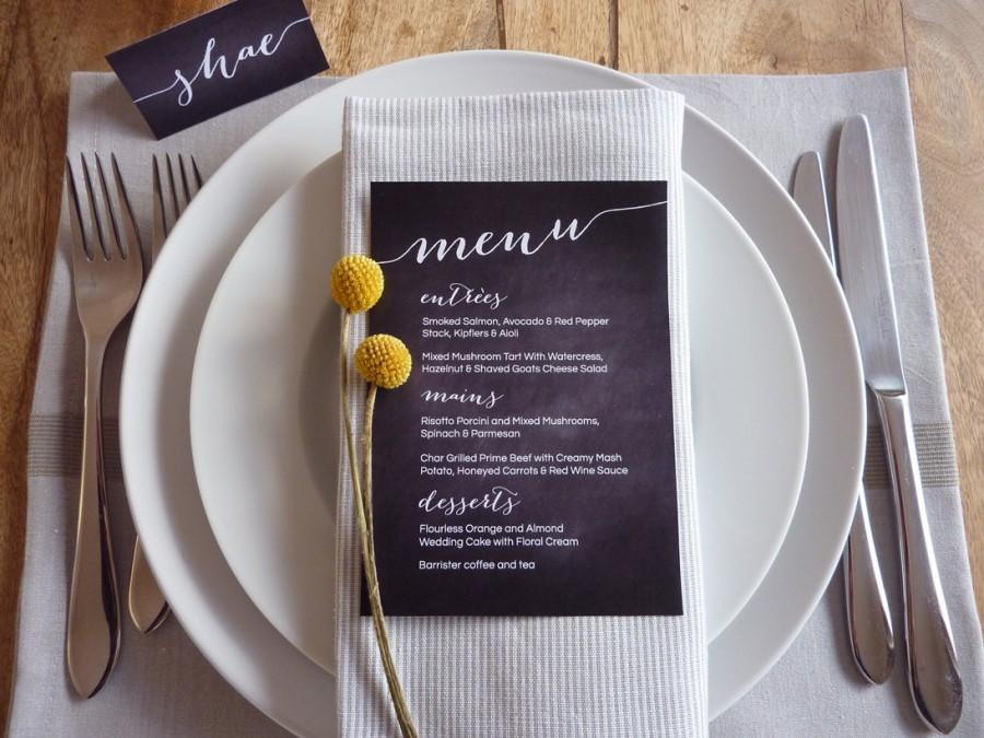 Mariage - Wedding Menu - Printable Custom DIY Chalkboard Wedding Menu