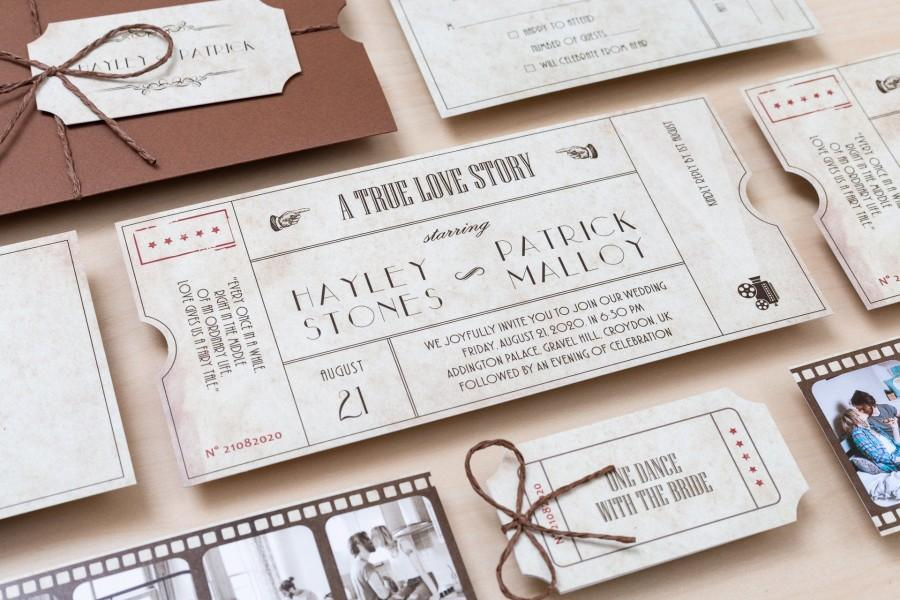 Mariage - Vintage Cinema Movie Ticket Wedding Invitation