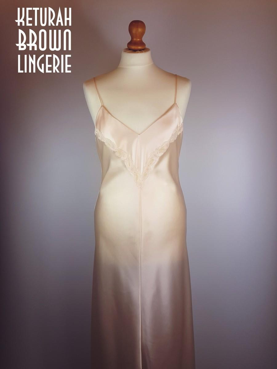 Hochzeit - Peach Silk Full Length Nightdress, Silk Slip, Peach nightgown, Pale Pink Silk, Silk Lingerie, Silk and Lace Slip, Bias Cut nightdress, 30s