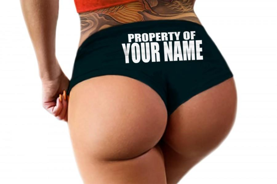 Hochzeit - Property Of Panties Custom Personalized Sexy Submissive Collared Funny Bride Wedding Gift Booty Panty Customized Womens Underwear (bold)