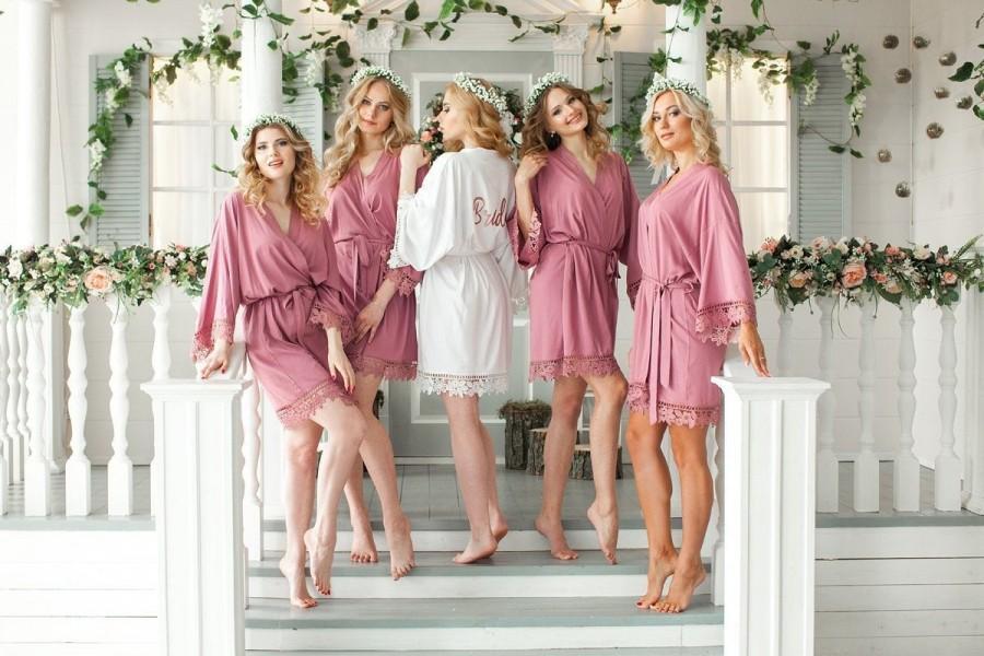 Hochzeit - Dusty Rose Bridesmaid Robes