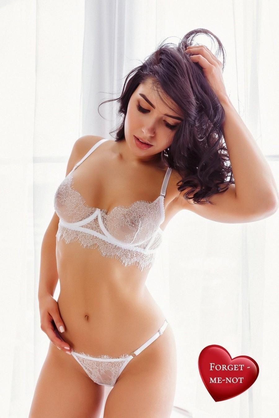 Hochzeit - SEXY LINGERIE, Girlfriend GIFT, Wife Gift, Plus Size Lingerie, Bridal Lingerie Set, See Through Bra, Sheer Panties, Sexy Bra, Garter, Sheer