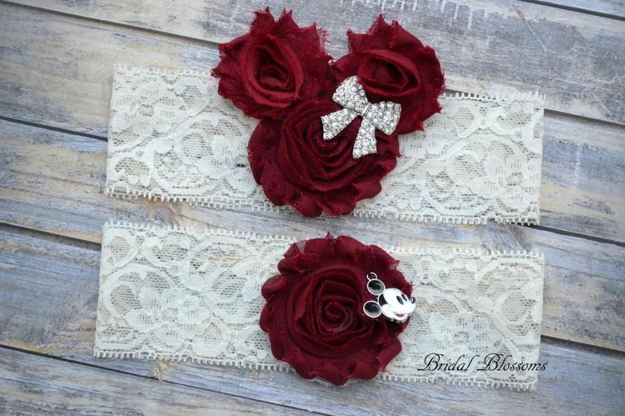 Hochzeit - Minnie Mickey Mouse Bridal Garter Set