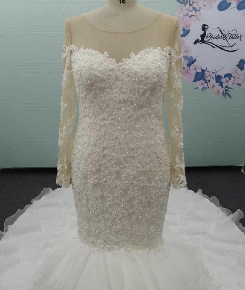 Wedding - Custom Bridal Gown with Illusional Sleeves and Lace  by Brides & Tailor