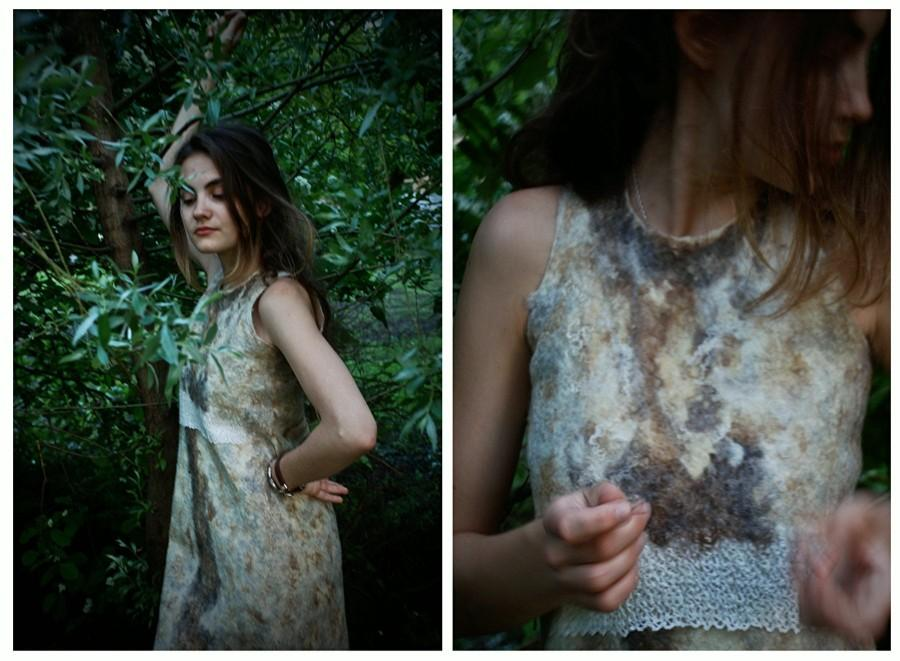 """Wedding - Eco style fashion felted reversible dress and bolero from natural silk  wool (with antique lace) """"Secret of the White Earth"""" OOAK"""