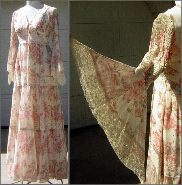 Mariage - Vintage 70s Maxi Festival Dress  - Angel Wing Sleeves - Elastic Smocked Bodice Rose & Lily of the Valley Print - Size S - Candi Jones