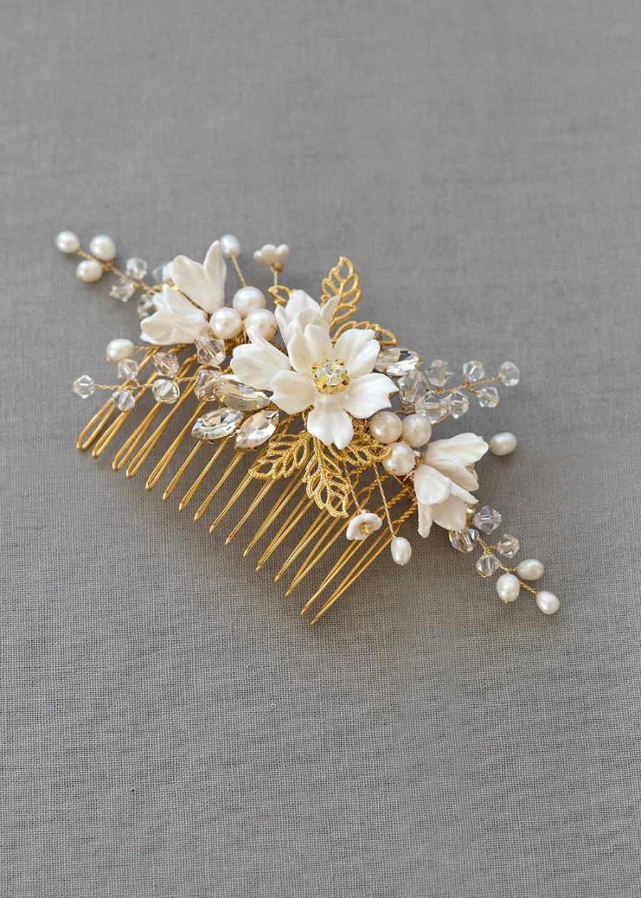 زفاف - FLEUR Bridal Comb, Wedding headpiece, Bridal Headpiece, Wedding Comb, Floral Comb, Decorative Comb, Bridal Hair Jewellery