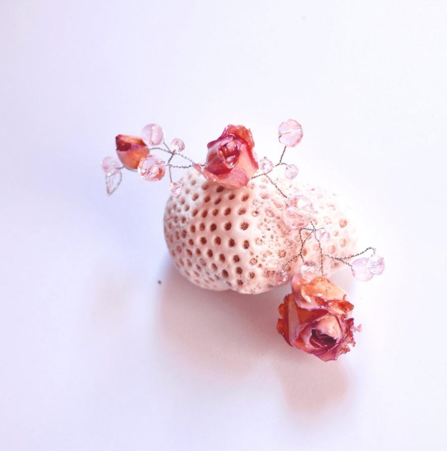 زفاف - Real rose hair vine bridal head piece pastel flower hair piece boho wedding head piece, bridal tiara boho dried flower halo Woodland wedding
