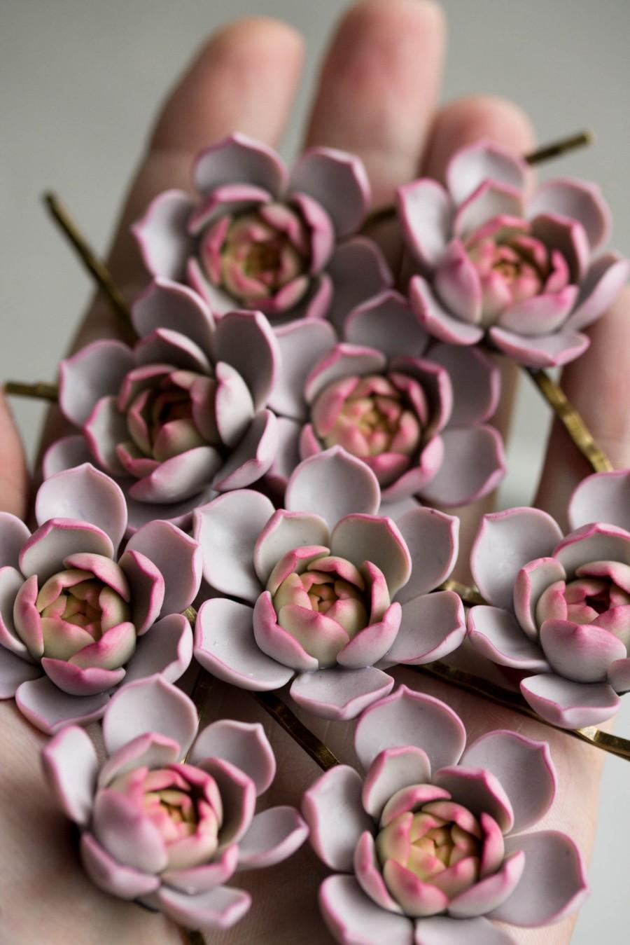 Hochzeit - 1 pcs purple Succulent Hair Pins Hairpin  Bobby Pins Hair Buy succulents plant ideas Accessory Women Handmade Decoration Bridal Hair