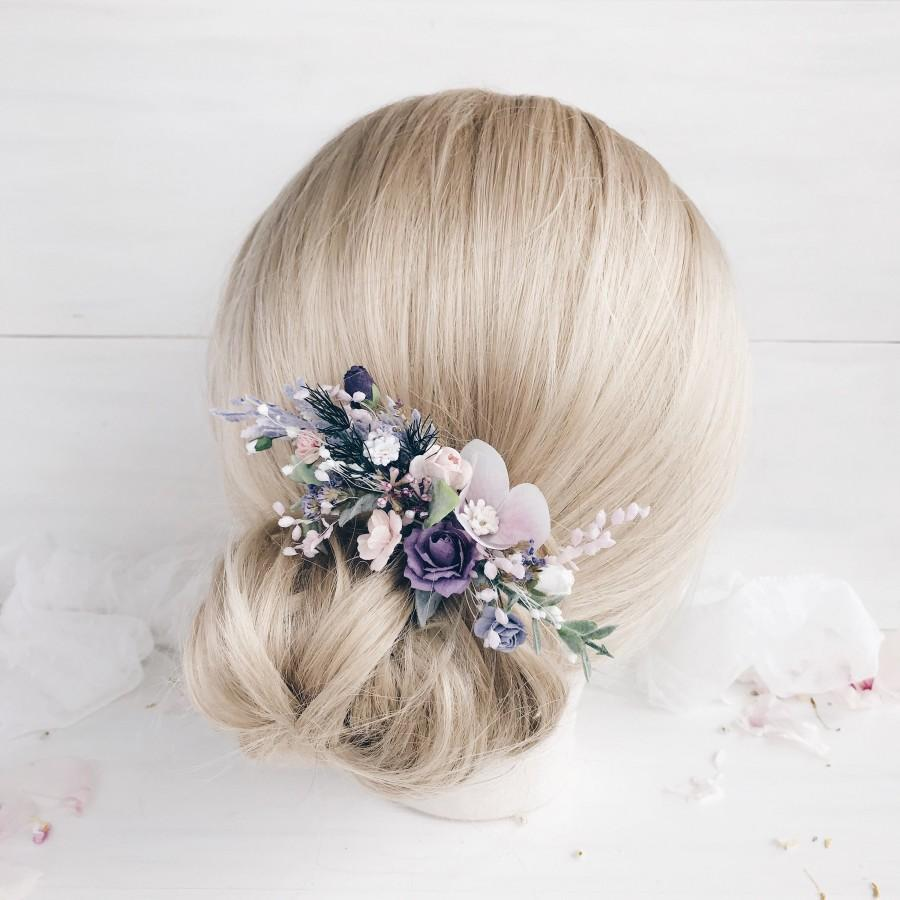 Hochzeit - Flower hair comb, Lavender flower hair clip, Bridal flower hair piece, Flower hair clip, Wedding hair pieces for bridesmaid