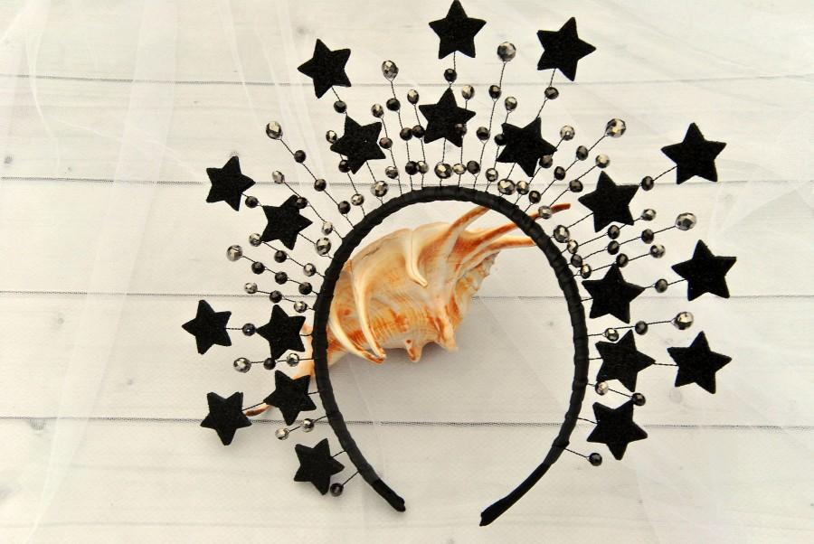 زفاف - Black star crystal spike halo crown Wedding goth black headpiece celestial headband