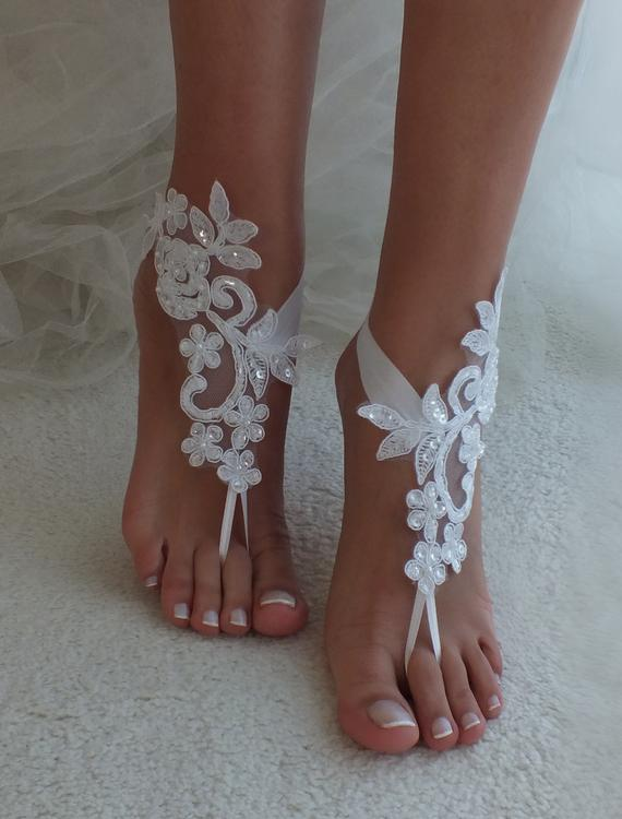 Hochzeit - EXPRESS SHIPPING 6 COLORS Beach wedding barefoot sandals wedding shoes beach shoes bridal accessories beach anklets Bridesmaid gift