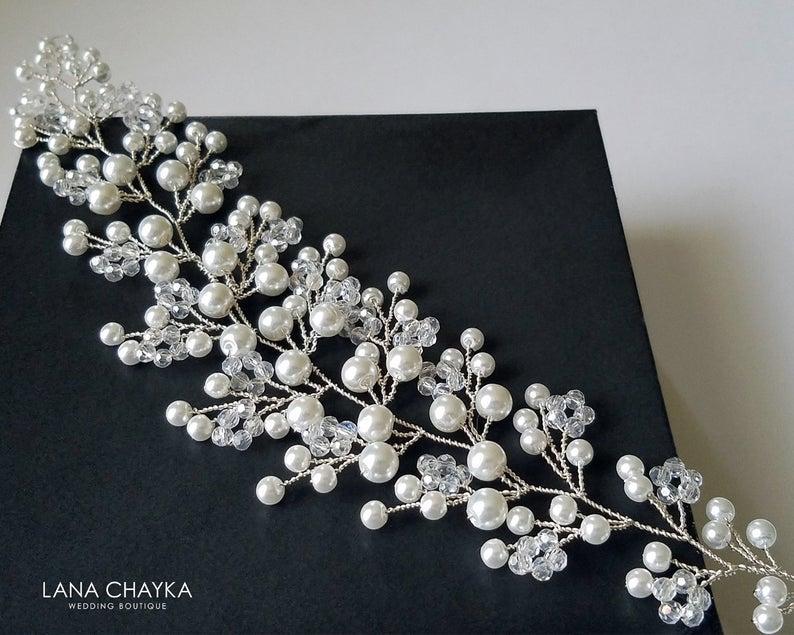 Свадьба - Pearl Crystal Bridal Hair Vine, Wedding Floral Hair Piece, White Pearl Wreath, Bridal Pearl Headpiece, Wedding Pearl Hair Piece Hair Jewelry