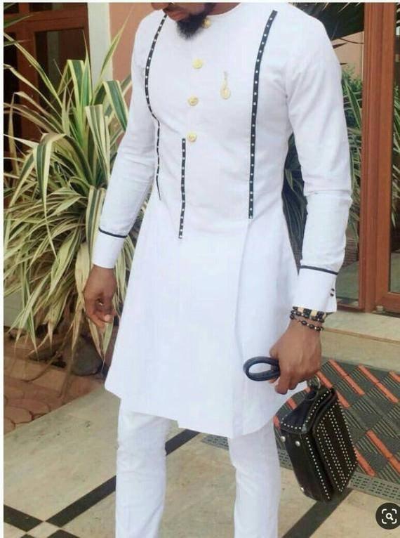 Wedding - African men's clothing / African fashion/ wedding suit/dashiki / African men's shirt/ vêtement africain/ chemise et pantalon/ Ankara styles