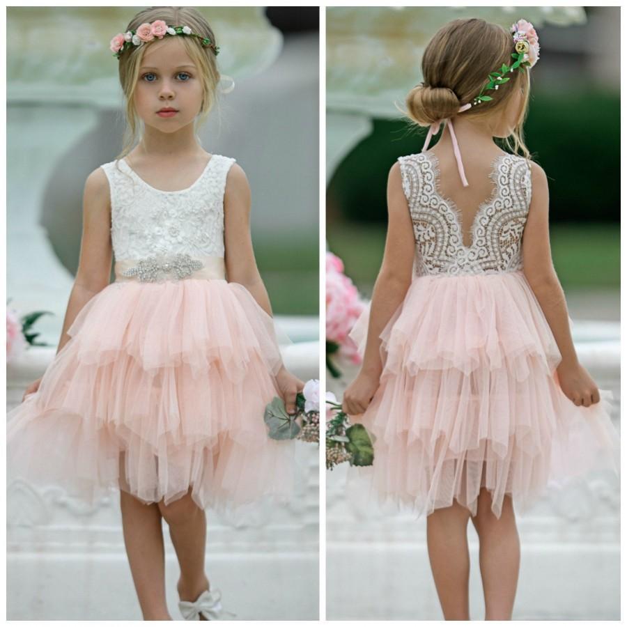 Hochzeit - Blush Pink Tulle Flower Girl Dress, White Lace Flower Girl Dress, Boho Flower Girl Dresses, Rustic Flower Girl Dresses, Toddler Tutu Dress