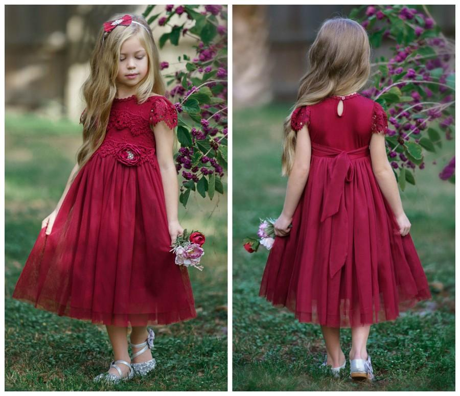 Mariage - Tulle Flower Girl Dress, Burgundy Lace Flower Girl Dresses, Boho Flower Girl Dress, Rustic Lace Flower Girl Dress, Christmas Dress,