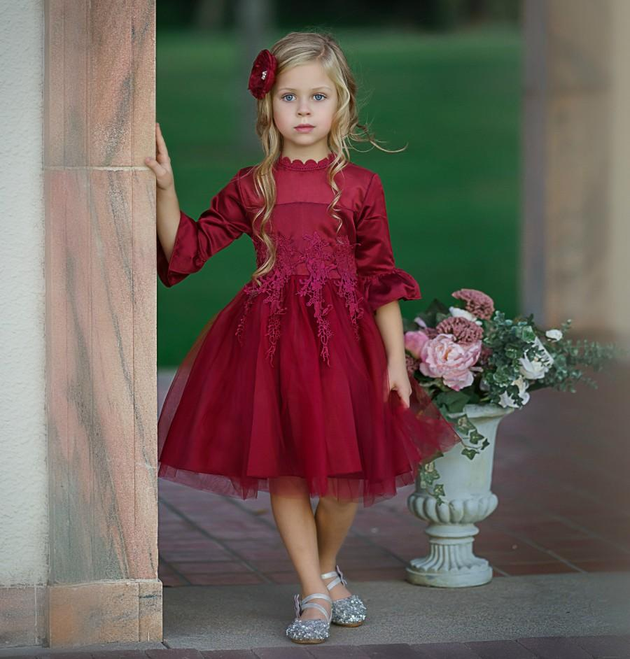 Wedding - Flower girl dress, Girls Christmas Dress, Baby Christmas Dress Toddler, Lace Flower girl dresses, Red tulle flower girl dress, Holiday Dress