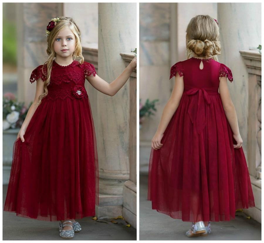 Hochzeit - Burgundy flower girl dress, Red Lace flower girl dress, Tulle Flower Girl Dress, Rustic Flower Girl Dress, Boho Flower Girl, Birthday Dress