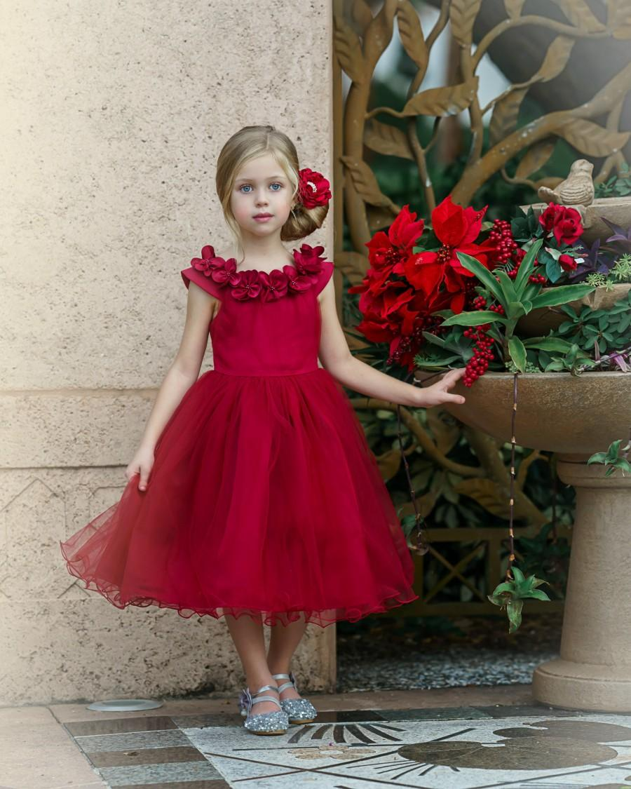 Свадьба - Red Flower Girl Dress, Red Christmas dress, Tulle Flower Girl Dresses, Boho Flower Girl Dress, Rustic Flower Girl Dress, Winter Flower Girl