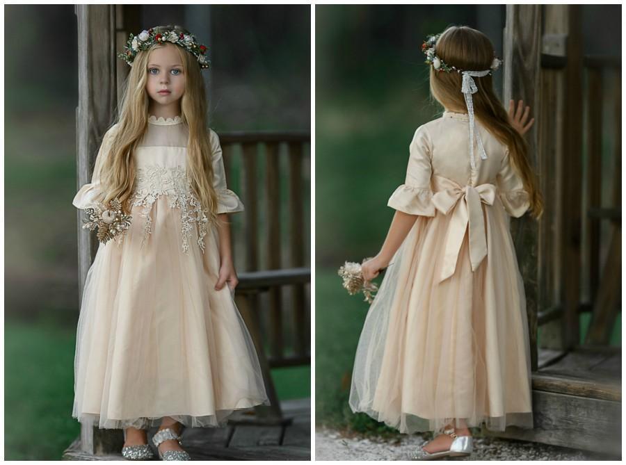 Hochzeit - Flower girl dress, Lace Flower girl dresses, Rustic flower girl dress, tulle long sleeve flower girls dress, Communnion dress,