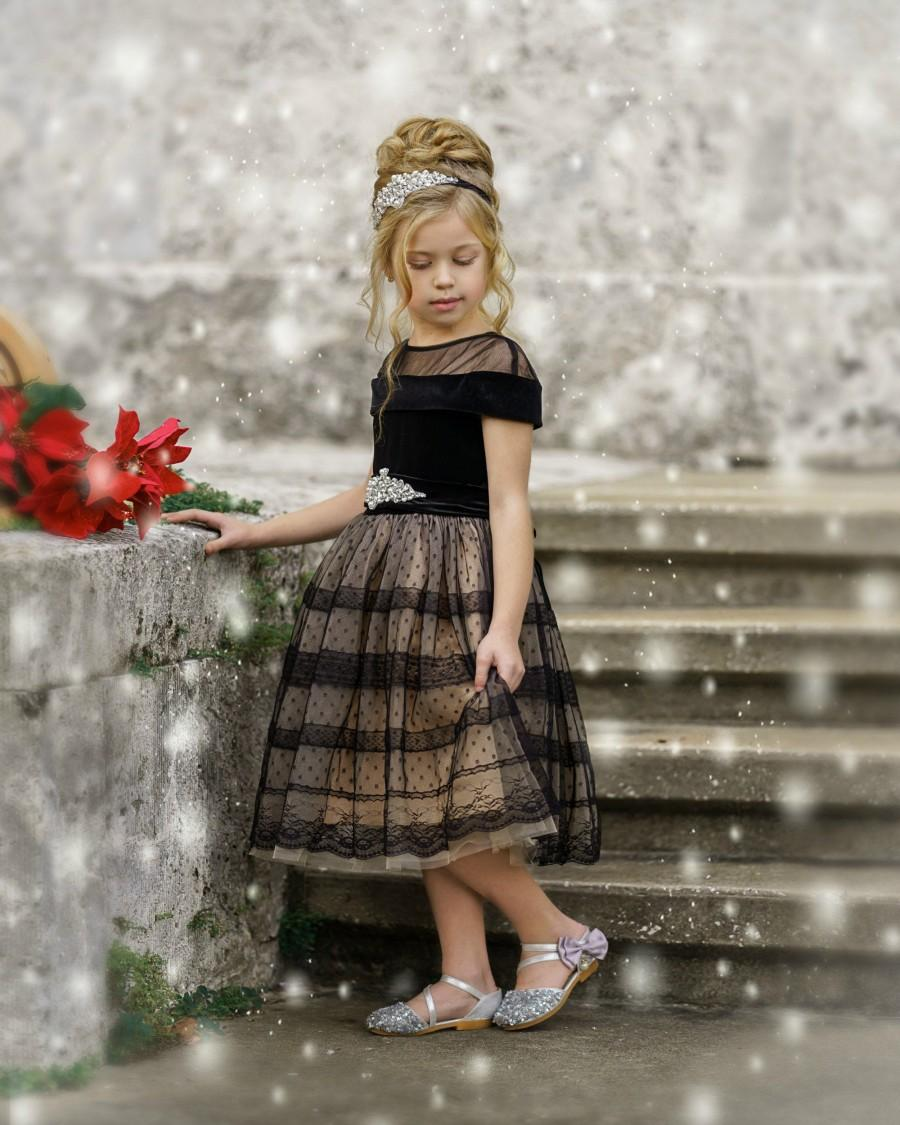 Wedding - Black Flower Girl Dress, Black Tulle Girls dress, Girls Special Occasion Dress, Girls Christmas dress, Girls Holiday Dress, Black Tutu Dress