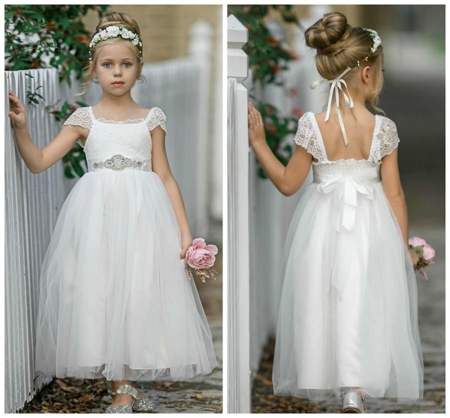 زفاف - Flower Girl Dress, Flower girl dresses, Off White lace dress, lace baby dress, country flower girl, rustic flower girl, communion dress