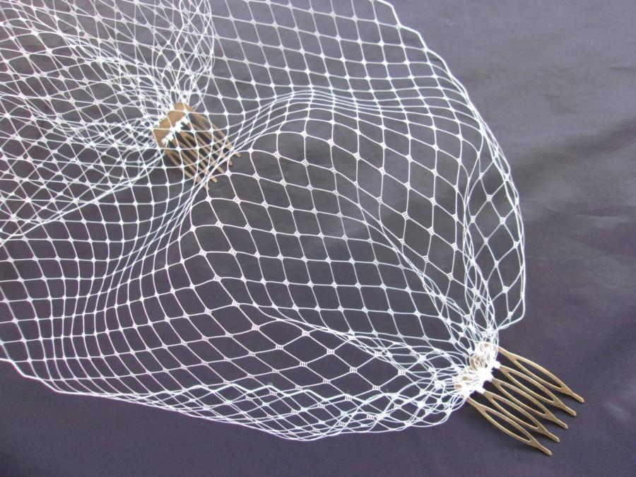 Mariage - Ivory Birdcage Veil - Pale Off White Bandeau Bridal Brides Wedding Veils Russian with Comb Attachment - Made to Order