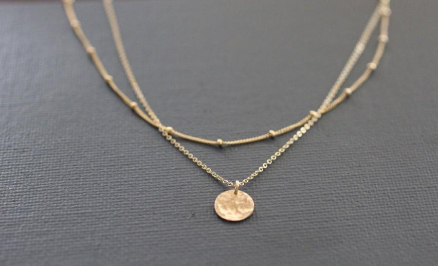 Свадьба - Delicate Necklace, Dainty Gold Necklace, Layered Necklace, Dainty Necklace, Sterling Silver, Hammered Disc, Pounded Metal, Satellite, N79