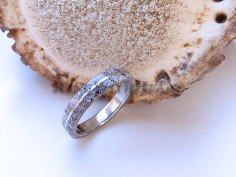 Свадьба - Engraved Deer Antler Ring and Titanium, Personalized Wedding Band, Engagement Ring, Bone Ring, Antler Ring, gift for hunters