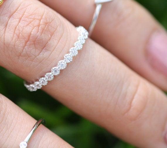 Свадьба - Diamond Eternity Engagement Ring for Women, Diamond Wedding Bands, Stacking Ring for Engagement ring, Eternity Band for her, Best gift Rings