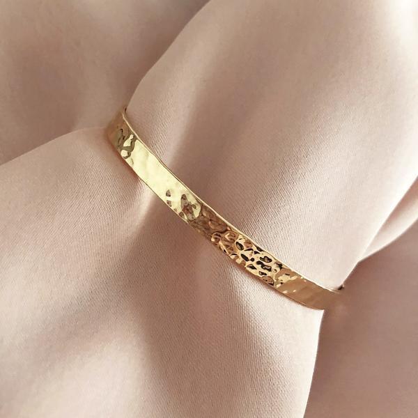Hochzeit - Elegant Gold Hammered Cuff, Gift for Her Modern Textured Dainty Bracelet, Classy Minimalist Layering Cuff
