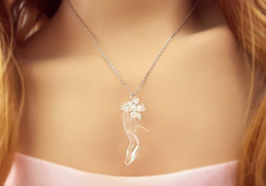 "Hochzeit - Cinderella Necklace, LOVELY ""Glass"" Slipper Pendant, Princess Fairytale Wedding Jewelry Daughter, Romantic Fairy Tale Gift for Her N5720-2"