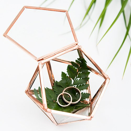 Wedding - Wedding Ring Box - Terrarium Ring Box - Geometric - Glass Ring Box - Wedding Gift - Copper Jewelry Box - Geometric Terrarium Ring Box