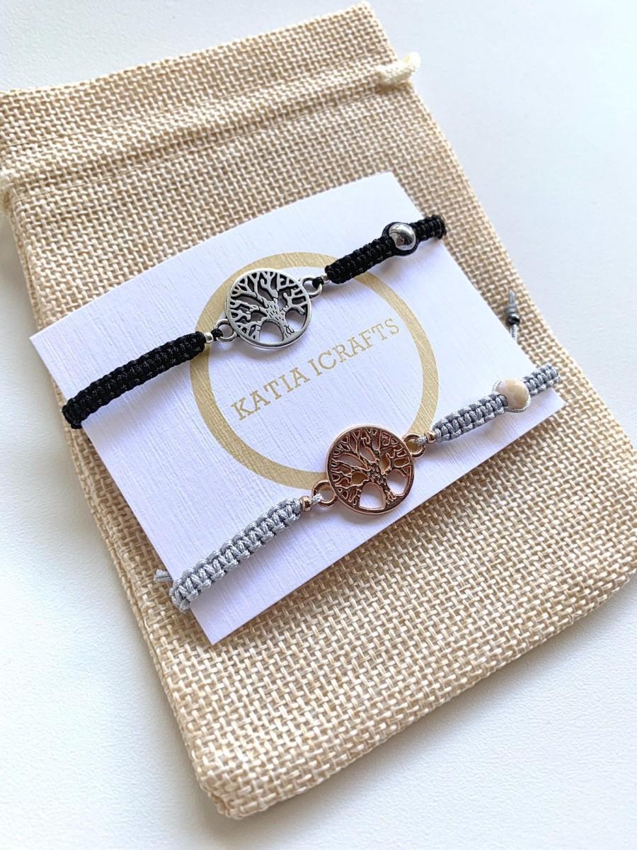 Mariage - Tree Of Life Bracelet*Macrame Bracelet*Matching Couple Bracelets*His And Her Bracelet*Family Bracelet
