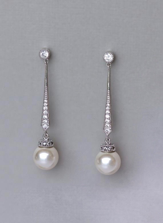 Hochzeit - Pearl Dangle Earrings, White Gold Pearl Drop Earrings, Crystal Bridal Earrings,   DANIELLE S