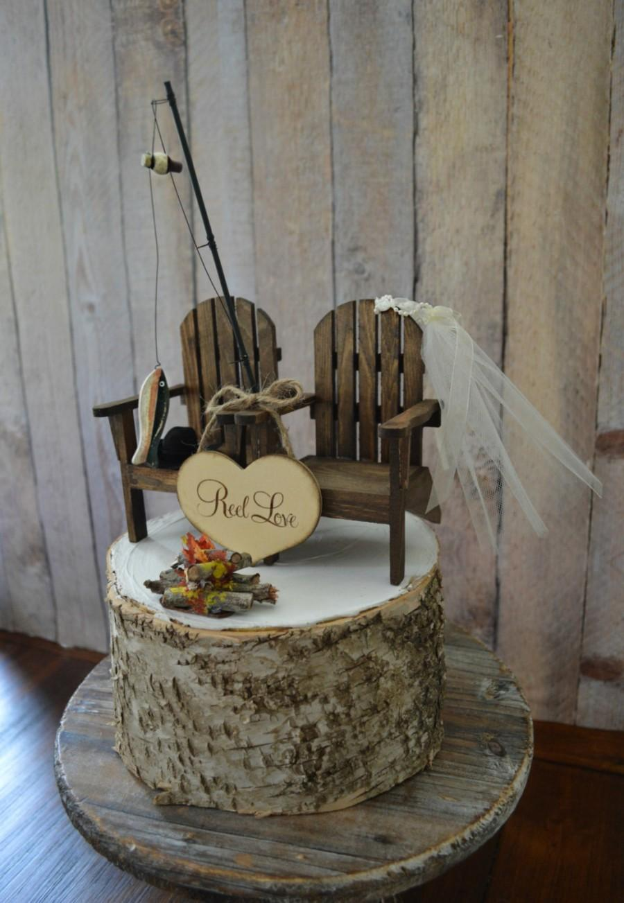 زفاف - Fishing camping themed wedding cake topper fishing pole camp fire Adirondack chair set bride and groom outdoors Mr &Mrs sign country wedding