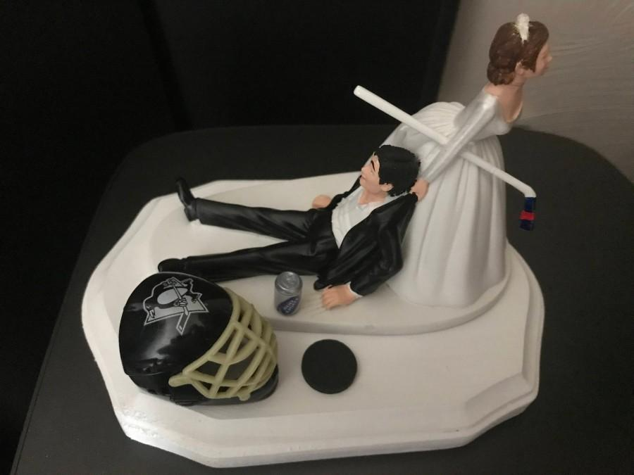 Wedding - Pittsburgh Pens Penguins  Wedding Cake Topper Bridal  Funny Hockey team Themed with matching garter Hair color changed for  free