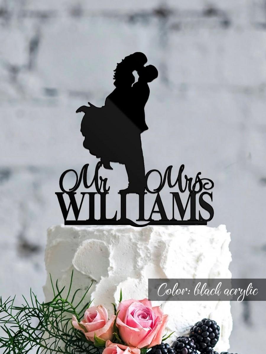 زفاف - Wedding cake topper. Mrs and Mrs Cake topper. Custom wedding cake topper. Silhouette topper. Personalized topper. Bride and Groom cake